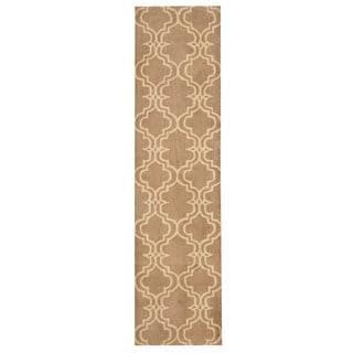 Herat Oriental Indo Hand-tufted Tibetan Light Brown/ Ivory Wool Rug (2' x 8')
