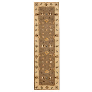 Herat Oriental Indo Hand-tufted Mahal Light Brown/ Ivory Wool Rug (2'6 x 8')