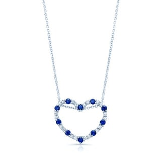 14k White Gold Blue Sapphire 1/5ct TDW Diamond Heart Pendant (H-I, VS1-VS2)