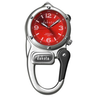 Dakota Unisex Red Dial Mini Clip Microlight Clock - Silver