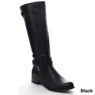 Soda Bio-S Women's Criss Cross Ankle Strap Side Zipper Riding Boots
