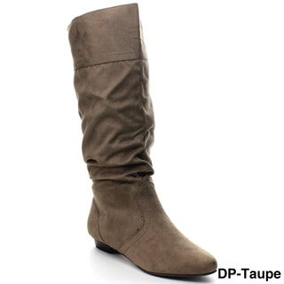 SODA BASAL Women's Slit Back Wide Cuff Slouch Knee High Riding Boots