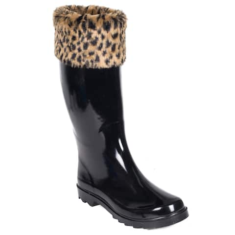 Women's Rubber Rain Boots Black Faux-Fur Cheetah Mock-Sock