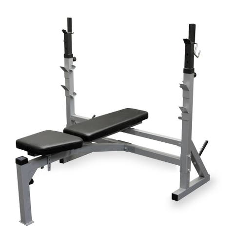 Valor Fitness BF-39 Adjustable FID Olympic Bench with J-Hooks and Bar Catches - Silver