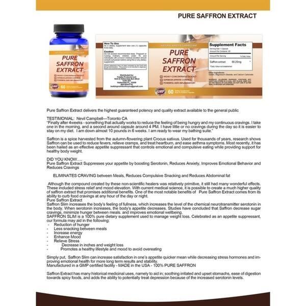 Shop 100 Percent Pure Non Gmo Saffron Extract 60 Capsules