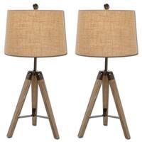 Wood Surveyor Antiqued Wood Tripod Table Lamp -Set of 2