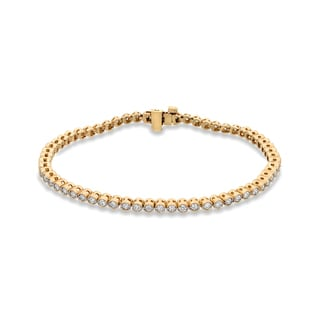 Auriya 14k Yellow Gold 2ct TDW Milgrain Detail Round Cut Diamond Tennis Bracelet (H-I, SI2-SI3)