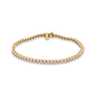 Auriya 14k Yellow Gold 2ct TDW Vintage-Inspired Milgrain Round Diamond Tennis Bracelet