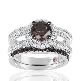 Suzy Levian Sterling Silver Brown Chocolate and White Cubic Zirconia 2-Piece Engagement Ring