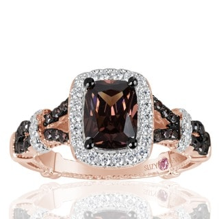 Suzy Levian Rose Sterling Silver Brown and White Cubic Zirconia Engagement Ring