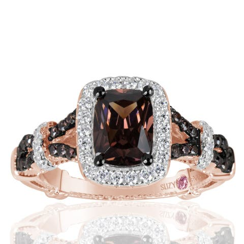 Suzy Levian Rose Sterling Silver Brown and White Cubic Zirconia Engagement Ring - Pink