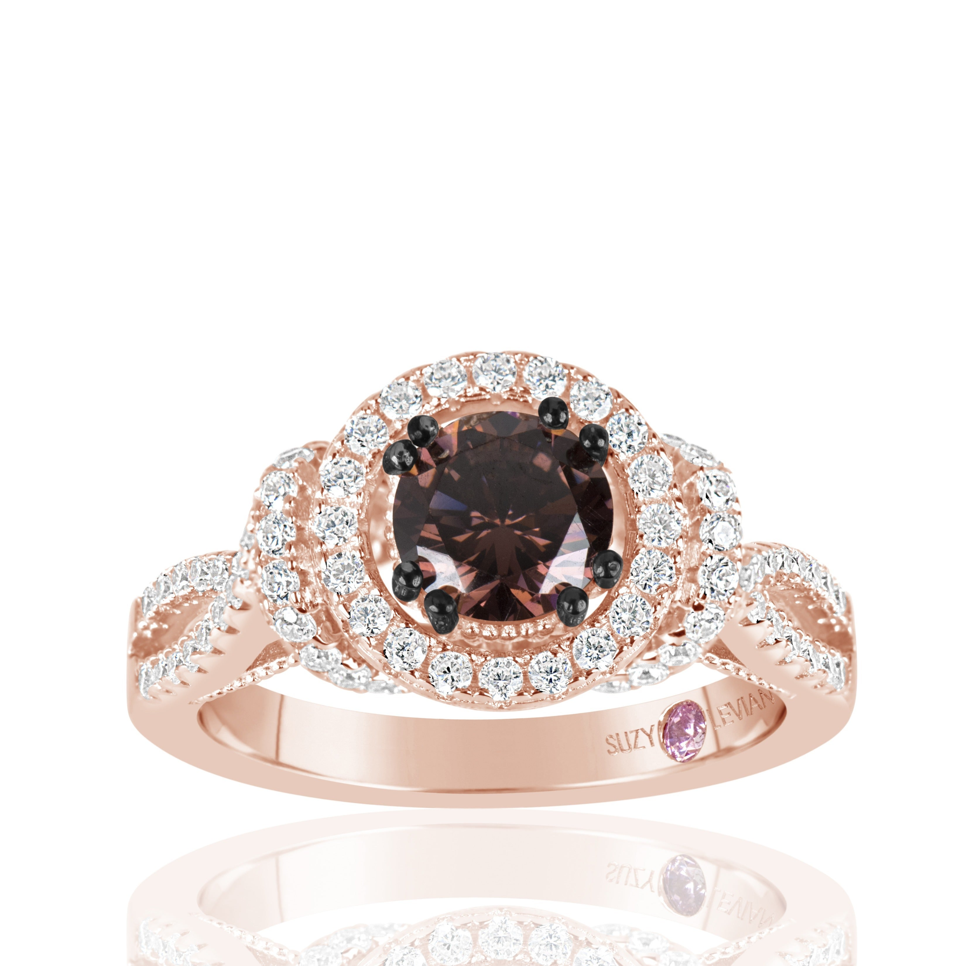 Suzy Levian Rose Sterling Silver Brown Chocolate and Whit...