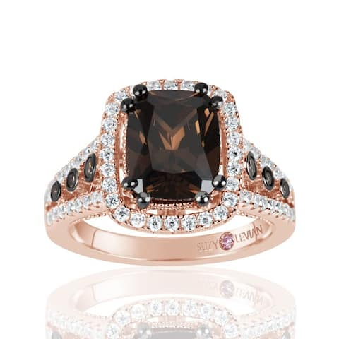 Suzy L. Rose Sterling Silver Brown Chocolate and White Cubic Zirconia Engagement Ring - Pink
