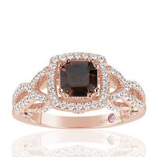 Suzy Levian Rose Sterling Silver Asscher Cut Brown and White Cubic Zirconia Engagement Ring|https://ak1.ostkcdn.com/images/products/10543335/P17623651.jpg?impolicy=medium