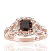 Suzy Levian Rose Sterling Silver Asscher Cut Brown and White Cubic Zirconia Engagement Ring
