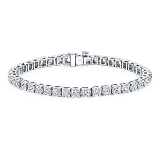 Auriya 14k Gold 10ct TDW Round Cut Diamond Tennis Bracelet