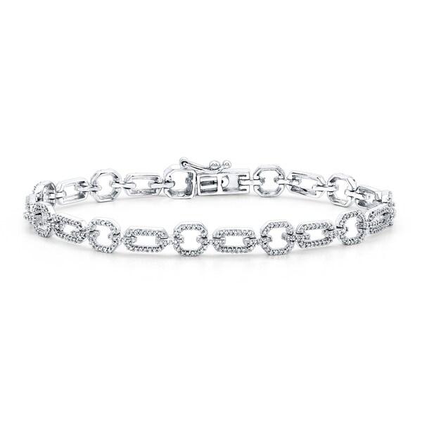 Fine Jewelry 1 CT. T.W. Diamond 10K White Gold X-Link Bracelet YTl2fLJHb
