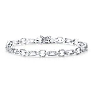 Auriya 10k White Gold 1ct TDW Round Diamond Chain Link Bracelet (H-I, I2-I3)