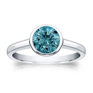Auriya 14k Gold 1ct TDW Round Blue Diamond Solitaire Bezel Ring (Blue, I1-I2)