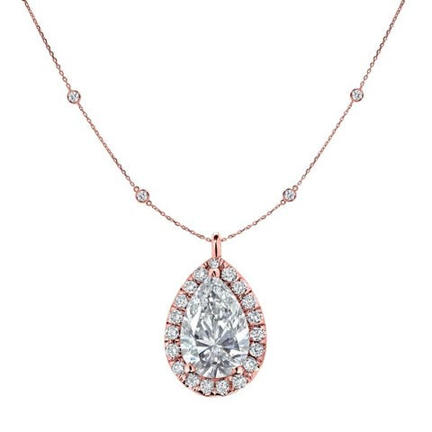 Auriya 2 3/5cttw Pear Shape Halo Diamond Chain Station Necklace 14k Gold
