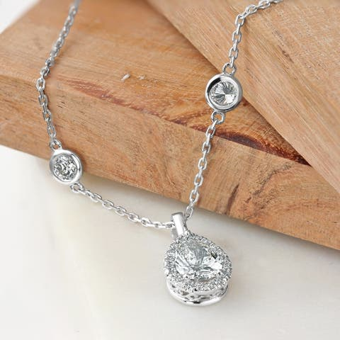 Auriya 2 3/5cttw Pear Shape Halo Diamond Chain Station Necklace 14k Gold