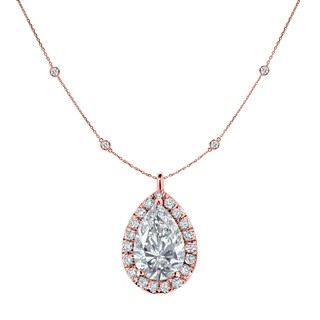 14k White Gold 2 3/5ct TDW Chain Station and Pear Shaped Diamond Halo Necklace