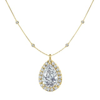 Auriya 14k White Gold 2 3/5ct TDW Pear Shape Diamond Halo and Diamond Chain-Station Necklace