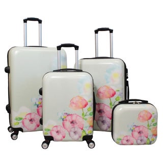 World Traveler Flower Bloom 4-piece Lightweight Hardside Spinner Luggage Set