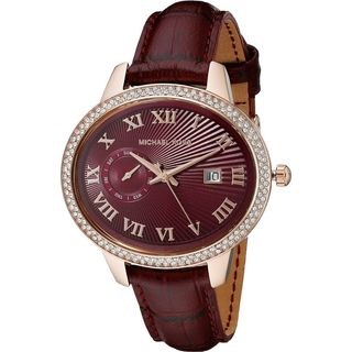 Michael Kors Women's MK2430 'Whitley' Crystal Red Leather Watch