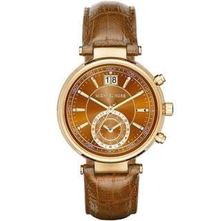 Michael Kors Women's MK2424 'Sawyer' Chronograph Brown Leather Watch|https://ak1.ostkcdn.com/images/products/10543373/P17623753.jpg?impolicy=medium