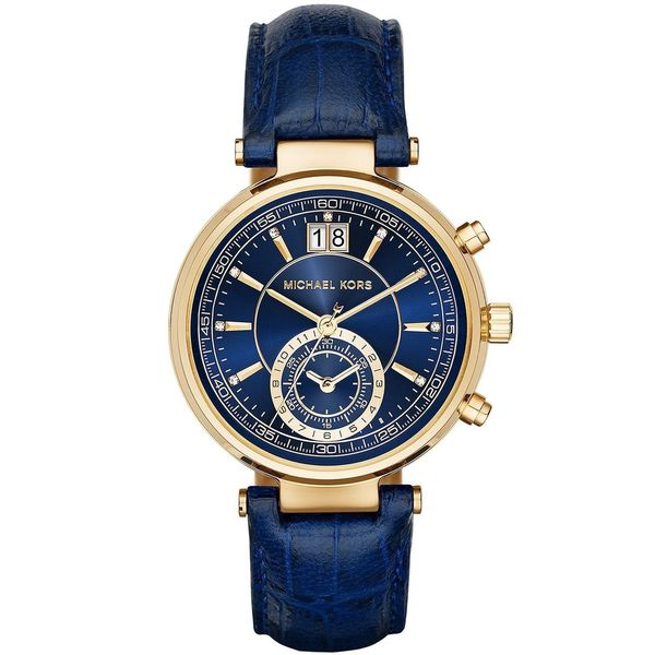 75008f547190 Shop Michael Kors Women s  Sawyer  Chronograph Blue Leather Watch - Free  Shipping Today - Overstock - 10543375
