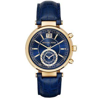 Michael Kors Women's MK2425 'Sawyer' Chronograph Blue Leather Watch