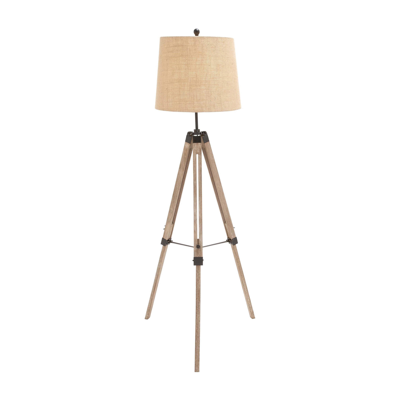 Casa Cortes Wood Surveyor Antiqued Wood Tripod Floor Lamp...