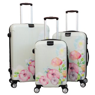 World Traveler Flower Bloom 3-piece Lightweight Hardside Spinner Luggage Set