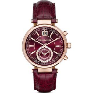 Michael Kors Women's MK2426 'Sawyer' Chronograph Crystal Red Leather Watch