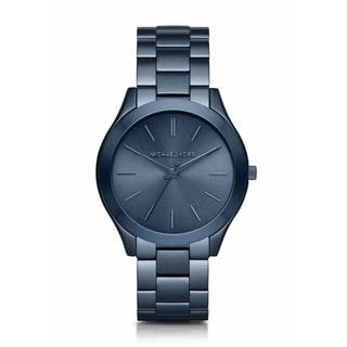 Michael Kors Women's MK3419 'Slim Runway' Blue Stainless Steel Watch|https://ak1.ostkcdn.com/images/products/10543395/P17623759.jpg?impolicy=medium