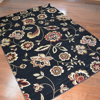 Traditional Floral Black Area Rug (5'3 x 7'3)
