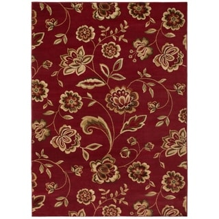 Traditional Floral Claret Area Rug (5'3 x 7'3)