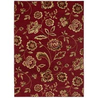 Traditional Floral Claret Area Rug - 5'3 x 7'3