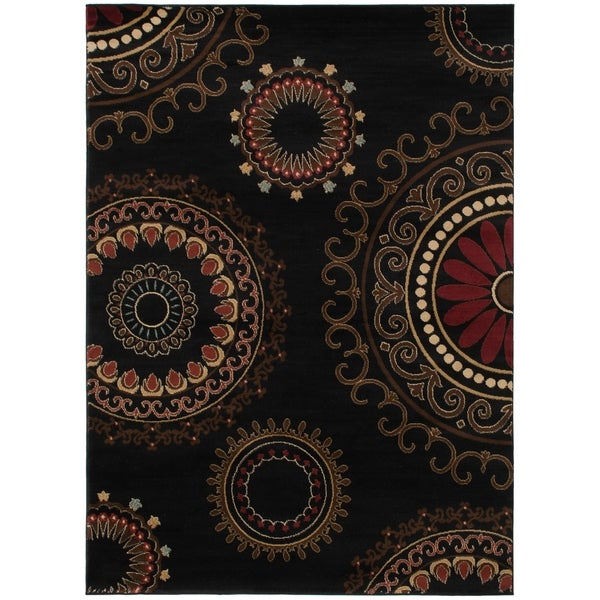 Contemporary Kaleidoscope Black Area Rug - 5'3 x 7'3