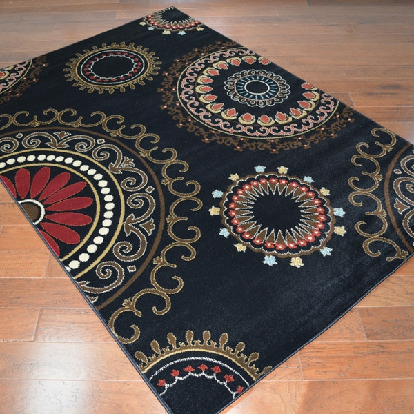 Contemporary Kaleidoscope Black Area Rug (5'3 x 7'3)