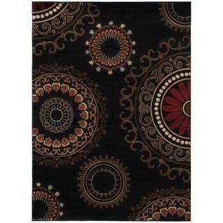 Contemporary Kaleidoscope Black Area Rug (5'3 x 7'3)