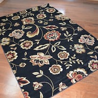 Traditional Floral Black Area Rug - 7'10 x9'10