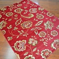 Traditional Floral Claret Area Rug