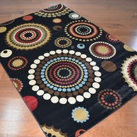 Contemporary Shooting Stars Black Area Rug