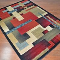 Contemporary Angles Multi-colored Area Rug (7'10 x9'10)