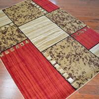 Contemporary Rawhide Leather Area Rug - 7'10 x9'10