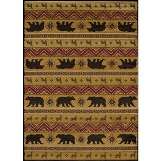 Harmony Bear and Deer Lodge Area Rug (7'10 x 10'6)