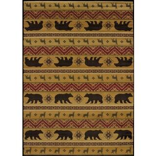 Harmony Bear and Deer Lodge Area Rug (7'10 x 10'6)