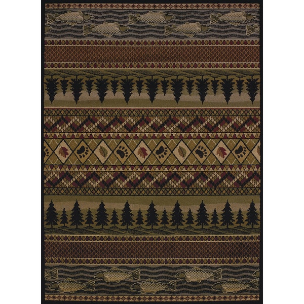Copper Grove Bighorn Fish & Paws Area Rug - 7'10 x 10'6